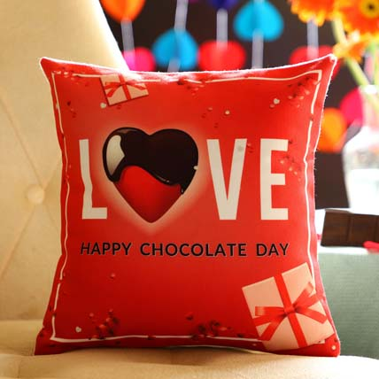 Chocolate Day Love Greetings Cushion: