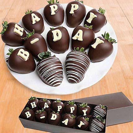 Birthday Belgian Dark Chocolate Strawberries: Chocolates to Fujairah