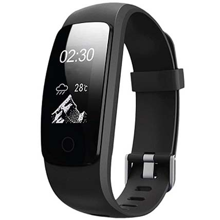 Black Fitness Tracker With OLED Screen: