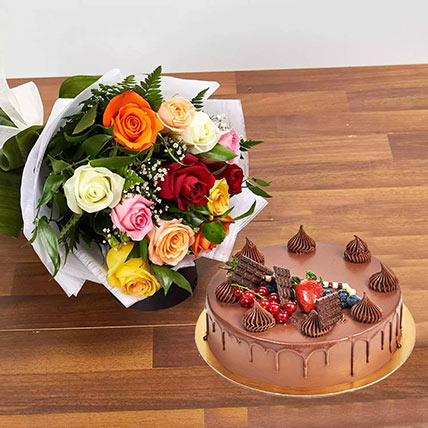Dozen Multi Roses with Fudge Cake: Mothers Day Gifts to Ajman