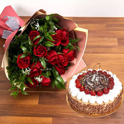 Dozen Roses with Blackforest Cake: Birthday Flowers & Cakes