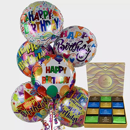 Birthday Balloons and Godiva Chocolates: