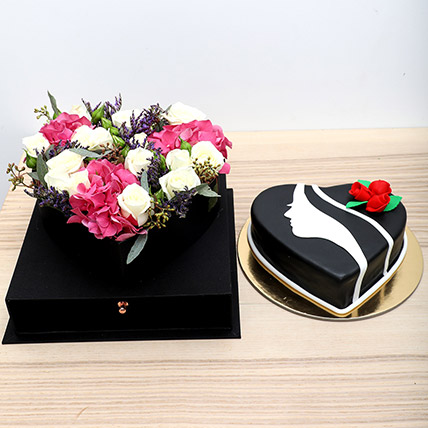 Flower Arrangement N Cake Combo: