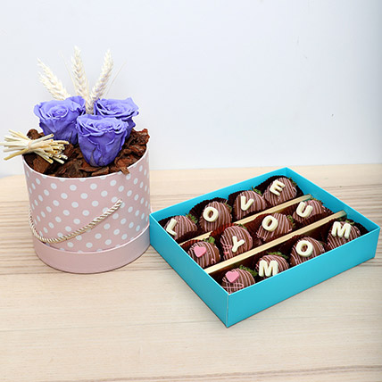 Forever Roses N Choco Strawberries: Flowers & Chocolates for Mothers Day