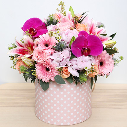 Pink and Peach Mixed Flowers Arrangement: Mothers Day Flowers to Sharjah