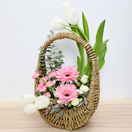 Pink and White Flowers Basket: New Arrival Gifts in Dubai
