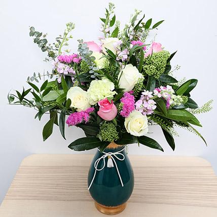 Roses N Carnations in Glass Vase: Eid Flowers