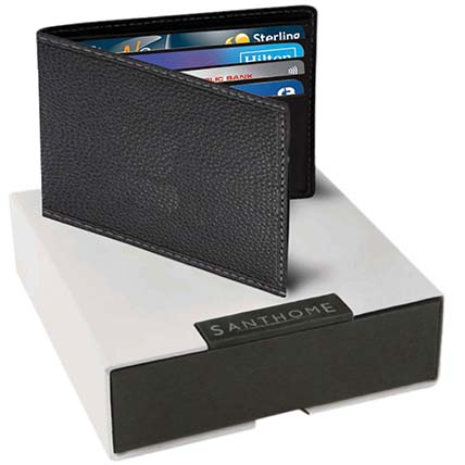 Black Leather Mens Wallet: Mens Wallet