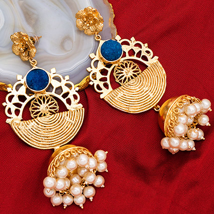 Gold Plated Artificial Stones Jhumkas: Artificial Jewellery