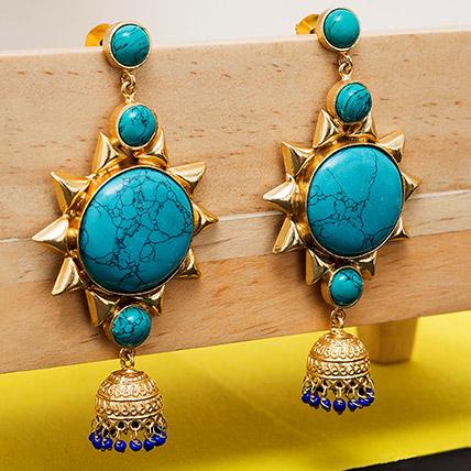 Gold Toned Dome Earrings: Earrings for Women