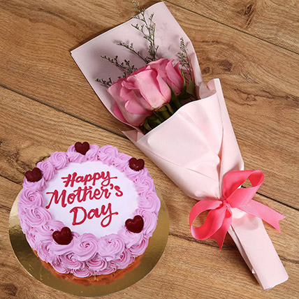 Pink Roses and Mothers Day Round Cake: