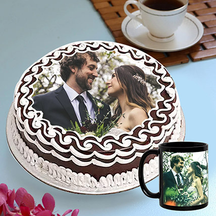Personalised Chocolate Cake And Mug Combo: Photo Cakes