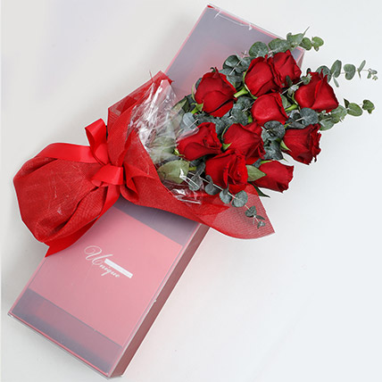 Magical Red Roses Box: Flower in a Box