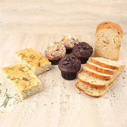 Spinach Loaf Bread & Muffins Combo: Bakery