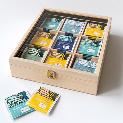 Natural Assorted Tea Wooden Box: 1 Hour Gift Delivery