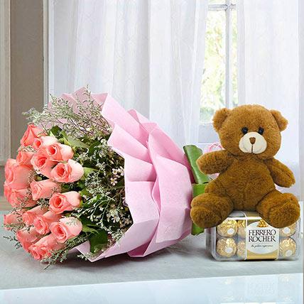Hamper to Surprise U: Friendship Day Flowers & Teddy Bears