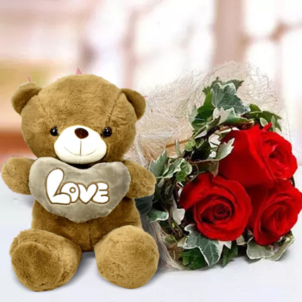 Red Roses and White Teddy Combo: Birthday Flowers & Teddy Bears