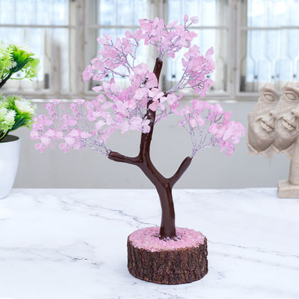 Pink Agate Stone Wish Tree: