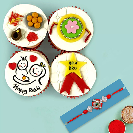 Red Pearl Rakhi and Cup Cakes: Rakhi With Cakes
