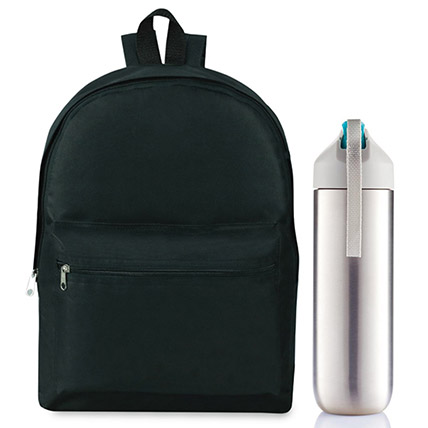 600D Polyester Backpack And Water Bottle Set: Back to School Gifts