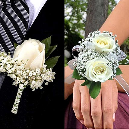 White Roses boutonniere and Corsage: Flower Jewellery