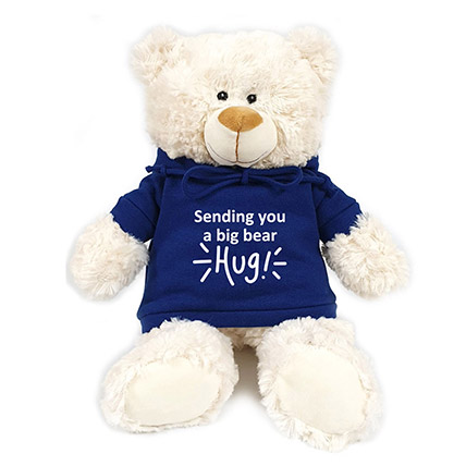 Fluffy Teddy Bear With Blue Hoodie: New Arrival Gifts in Dubai