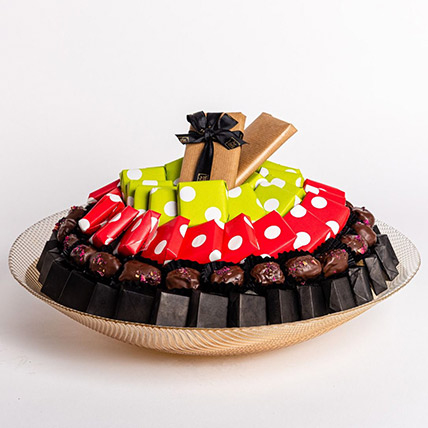 Assorted Premium Chocolates in Round Tray: Valentine Day Gift Hampers for Husband