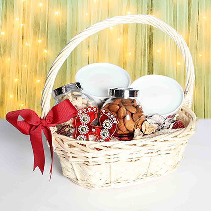 Cane Handle Basket Diwali Hamper: Diwali Hampers