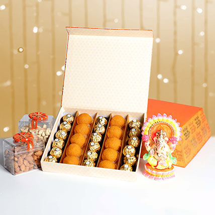 Dry Fruits With Sweets and Idol Box Hamper: Diwali Gift Ideas