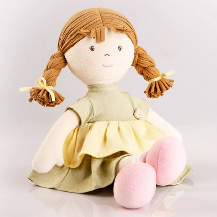 Cute Doll in Mint Green Dress Natural Cotton: