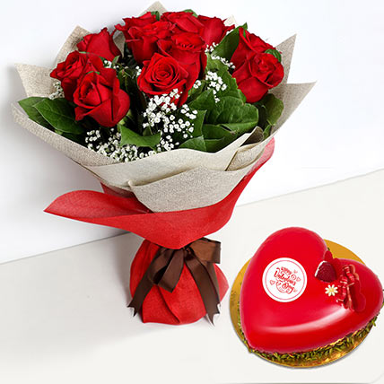 12 Red Roses Bouquet with Heartshape Cake: Valentines Day Flowers
