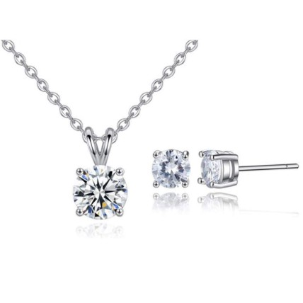 Round crystal necklace and earrings set: Artificial Jewellery