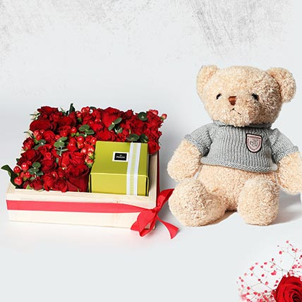 Arrangement of Roses and Patchi: Teddy Day Gifts