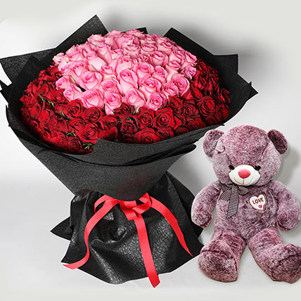 Teddy and 150 Roses Bouquet: Flowers and Teddy Bears