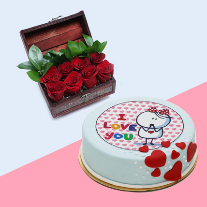 Treasured Rose and 4 Portion Cake: Valentines Gifts