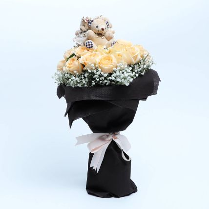 Bouquet of Floral and Fluffy: Flowers and Teddy Bears