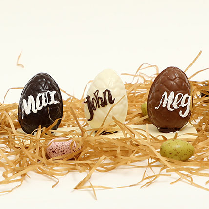 Easter Special Personalised Milk And Chocolate Eggs Trio: Chocolate Easter Eggs