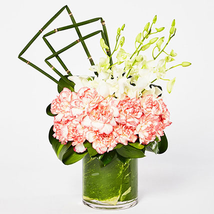Exquisite Mixed Flowers Vase Arrangement: Carnation Flower