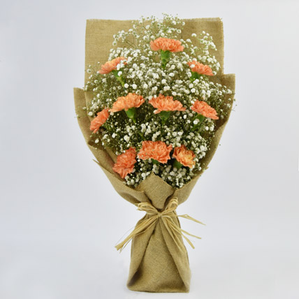Lovely Orange Carnations Bouquet: Carnation Flower
