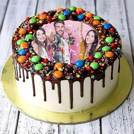 MNM Chocolate Birthday Photo Cake: Birthday Photo Cakes