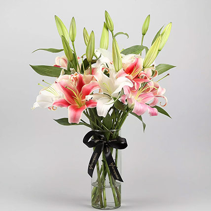 White and Pink Lily Arranagement: New Arrival Gifts