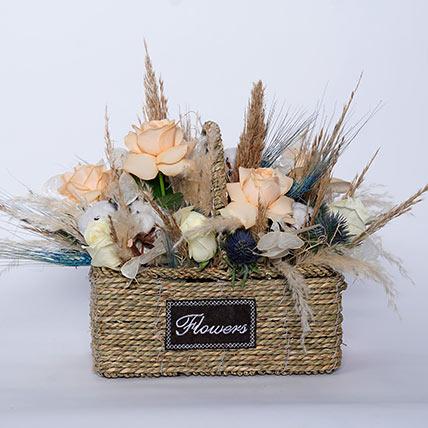 Delightful Mixed Flowers In Beautiful Basket: Dried Flower Bouquet