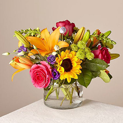 Heavenly Mixed Flowers Glass Vase:  Sunflower Bouquets