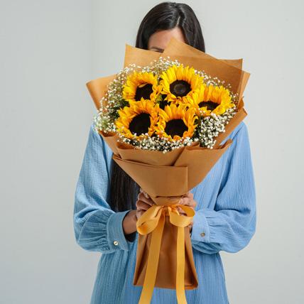 Ravishing Sunflowers Beautifully Tied Bouquet: New Arrival Flowers