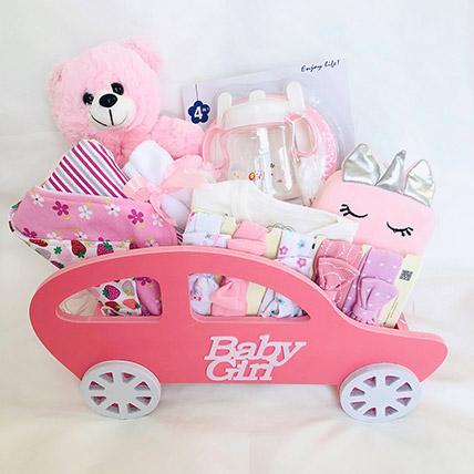 Car Themed Baby Girl Hamper: New Arrival hampers