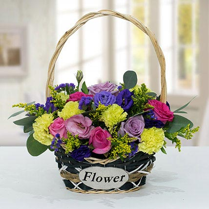 Vibrant Flower Basket: Luxury Flowers Dubai