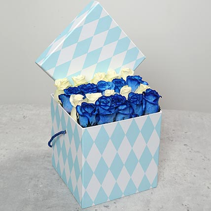 White and Blue Roses in Gift Box: Flower in a Box