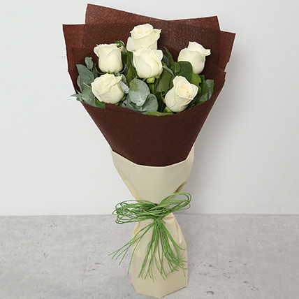 White Roses Bouquet: Condolence Flowers Delivery