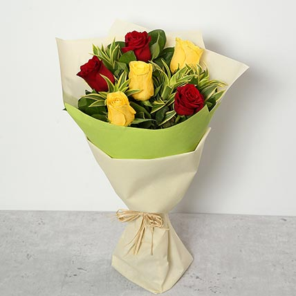 Red and Yellow Roses Bouquet LB: Send Flowers to Lebanon