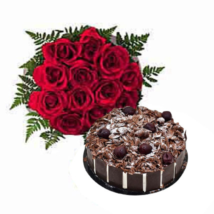 Dozen Roses with Blackforest Cake OM: Oman Gift delivery